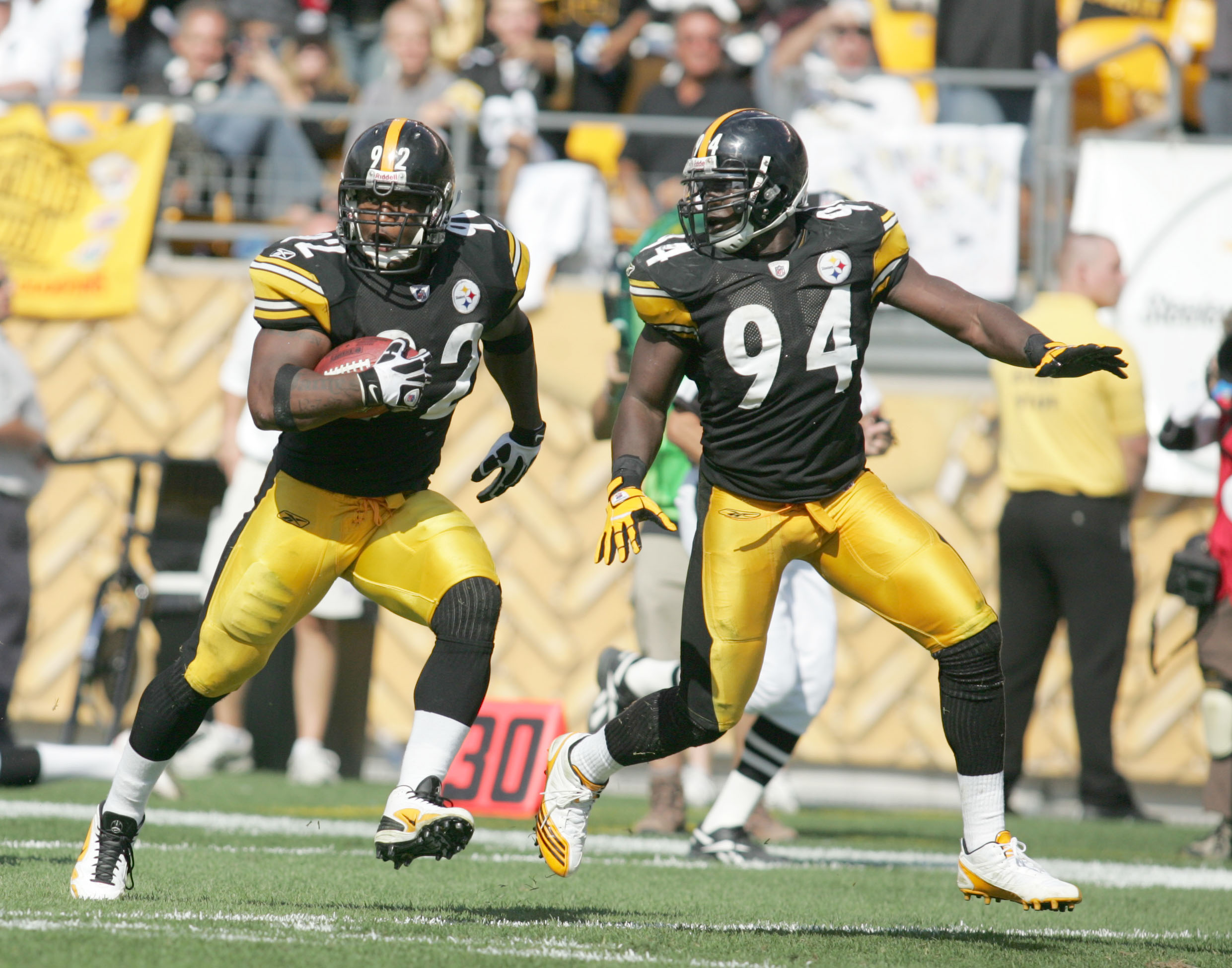 Lawrence Timmons (94) and James Harrison (92) - Pittsburgh Steelers
